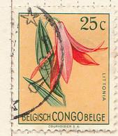 PIA - CONGO BELGA  - 1952 : Serie Corrente - Fiori : Littonia  -  (Yv 305) - Oblitérés