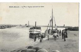 CPA Animée 1918 / Hérault MEZE / Le Port, Bateau Vapeur / Corresp Militaire MATHIEU SP 116, 158 Inf, 12 Cie - Mèze