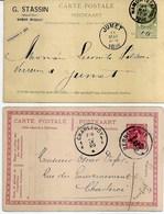 2 EP. CP. BERNISSART Et NAMUR(STation) En 1896 Et 1920 Voir Verso - Ganzsachen