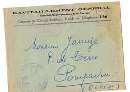 B2 12 09 1949  Lettre A Entete Ravitaillement Général Département De La Correze - Guerre De 1939-45