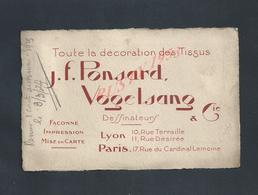 CDV CARTE DE VISITE J F PONSARD DESSINATEUR LYON X PARIS RUE DU CARDINAL LEMOINE : - Visiting Cards