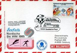 53921 Austria, Ballonpost 1985 Seefeld Tirol, Pro Juventute,Nordische Ski WM 1985 - Ballonpost