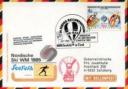 53922 Austria, Ballonpost 1985 Seefeld Tirol, Pro Juventute,Nordische Ski WM 1985 - Ballonpost