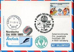 53923 Austria, Ballonpost 1985 Seefeld Tirol, Pro Juventute,Nordische Ski WM 1985 - Ballonpost