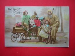 CPSM  PHOTO  GLORIA  356   HEUREUX NOEL  ANIMEE ENFANTS  BELLE VOITURE A PEDALES    VOYAGEE - Noël