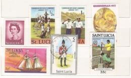 St. Lucia - Lotto Di 7 Francobolli Nuovi Ed Usati Tutti Diversi - Senza Album!!!! - St.Lucie (1979-...)