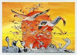 Lot De 3 CP Neuves - Dessins Aquarelle Alexis Nouailhat : Flamants Roses, Huppes, Guifettes Moustac - Birds Pink Floyd - Oiseaux