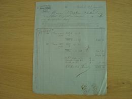FACTURE ALBERT CEZARD RAFFINERIE DE SUCRE NANTES 1869 - 1800 – 1899