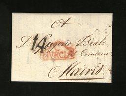 Carta Cartagena A Madrid - Marca C MURCIA En Rojo Porteos En Negro Prefilatelia Muy Bonita - ...-1850 Vorphilatelie