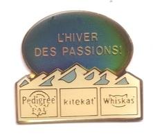 CC309 Pin's Albertville L'hiver Des Passions Pedrigre Kitekat Whiskas Signé Unisabi 1992 Chat Chien Achat Immédiat - Winter Sports