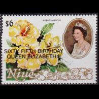 NIUE 1991 - Scott# 595 Flowers Opt. Set Of 1 MNH - Niue