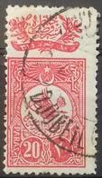 TURQUIE TURKEY N° 136 1908 20 Pa Rose OBLITERE C. à D. DJUBEIL (LIBAN) OTTOMAN LEBANON CANCELLATION - Usados