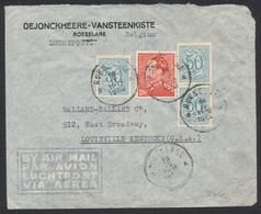 Affranch. Mixte N°435 Et 854 X3 Sur Lettre Par Avion De Roeselare (1952) > Louisville Kentucky (USA) / Poortman - 1936-1951 Poortman