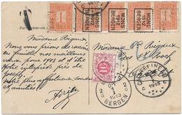 SH 0487. TP 10(5) PREOS ROULETTE MONS/1912/BERGEN S/CP V. CHÂTELET - Taxée 10c Par TTx 5 CHARLEROY 2.I.13.TB - Préoblitérés