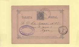 Entier Postal 1882 Port-Bou Pour Perpignan - 1875-1882 Royaume: Alphonse XII