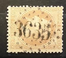 Empire Lauré No 28, 10 C Bistre Obl GC 3635 De ST SAINT GERMAIN DU BOIS,  Saône Et Loire,  Ind 4 , BTB - 1863-1870 Napoléon III Lauré