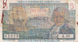 Ref. 1582-2004 - BIN ST. PIERRE AND MIQUELON . 1950. SANT PIERRE ET MIQUELON  5 ESCUDOS 1950 - 1960 - Papeete (French Polynesia 1914-1985)