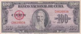 Ref. 1217-1639 - BIN CUBA . 1958. CUBA 100 PESOS 1958 AGUILERA - Cuba