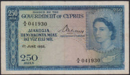 Ref. 761-1183 - BIN CYPRUS . 1955. 1955 CYPRUS CHIPRE 250 MILS. 1955 CYPRUS CHIPRE 250 MILS - Cyprus