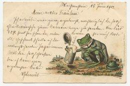 """CPA.grenouille Humanisé.chope à Bière Allemande. """"  Prosit """"                 .E.92 - Dressed Animals"""