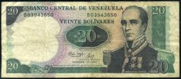 Ref. 468-854 - BIN VENEZUELA . 1987. 20 BOLIVARES VENEZUELA 1987 GENERAL RAFAEL URDANETA. 20 BOLIVARES VENEZUELA 1987 G - Venezuela