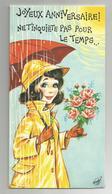Carte Système Anniversaire Signée Femme Parapluie Baromètre Thermomètre 22x11,5 Cm - A Systèmes