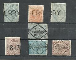 PONDICHERY = UN LOT DE TIMBRES TELEGRAPHE DE L INDE ANGLAISE SURCHARGES 1872-1873 - Usati