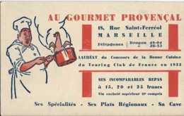 Publicité Réclame Hotel Restaurant - 13 - Marseille - Au Gourmet Provençal - Rue Saint-Férréol - TBE - Publicités