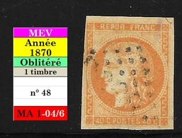 Cérès N° 48 Orange Oblitéré - 1870 Emission De Bordeaux