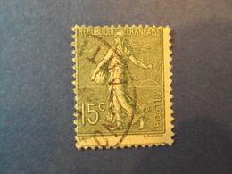 """1903-60 SEMEUSE LIGNEE- Oblitéré N°  130   """"  15c Vert Gris     """"    Net   2   """" Piquage Décalé""""  Photo    18 - 1903-60 Sower - Ligned"""