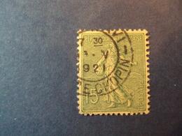 """1903-60 SEMEUSE LIGNEE- Oblitéré N°  130    """"  15c Vert Gris     """"    Net  3  """" Paris, Rue Chopin""""  .     Photo    22 - 1903-60 Semeuse Lignée"""