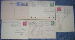 Entier Postal Lot De 5 Entiers Postaux France, Types Divers, 4 Oblitérés 1010-CP1 (2), 1011-CP1 (2)  Et 1 Neuf 403-CP1 - Enteros Postales