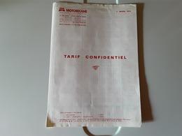 Document Motobecane Tarif Confidentiel  Mobylettes Vélosolex Etc 1er Mars 1976 - France