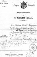 """MILITAIRE --""""CERTIFICAT Avec (Cachets)"""" -Certificat Pour La Médaille Commémorative De La CAMPAGNE D'ITALIE- - Cachets Généralité"""