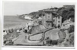 Real Photo Postcard, Ventnor, Looking West And Cascade, Cars, Automobile, Coastline, Buildings. - Ventnor