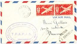 PREMIERE LIAISON AERIENNE PAPEETE ILE DE TAHITI 1947 LETTRE AVION => NOUMEA FRAPAS F.R.A.P.A.S. - Cartas
