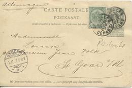 REF1062/ Entier CP Illustrée N° 1 + TP 53 C.Bruxelles 30/11/1897 > Sankt Goar Allemagne - Cartes Illustrées