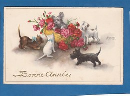CARTE BONNE ANNEE CHIENS ET CHATS - New Year