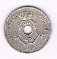 25 CENTIMES 1908 VL  FR BELGIE /3320/ - 1865-1909: Leopold II