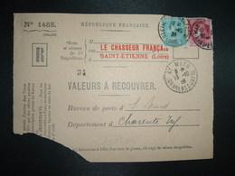DEVANT LR VALEURS A RECOUVRER TP CERES 2F + SEMEUSE 50c OBL.9-10 39 ST ETIENNE MANUFACTURE LOIRE (42) Tiretée ST MARD 17 - 1921-1960: Modern Tijdperk