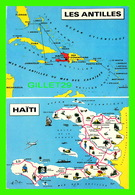 MAP, CARTE GÉOGRAPHIQUE - CARTES DE LA RÉPUBLIQUE D'HAÏTI ET DE LA MER DES ANTILLES - ÉCRITE EN 1970 - - Cartes Géographiques