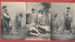 3 Cartes D'une Série De 10 - Sur Le Passage De La Bible  - DAVID U. GOLIATH  (décapitation) Cartes Pionnières Non Voyagé - Vertellingen, Fabels & Legenden
