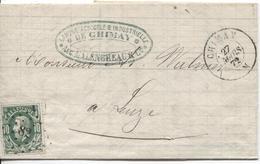 REF1064/ TP 30 S/LAC Banque De Chimay C.Chimay 27/3/72 + LOS PTS 82 > Leuze C.d'arrivée - 1869-1883 Leopold II.