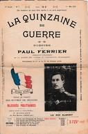 """WW1 1915 """"LA QUINZAINE DE GUERRE"""" Poésies De Paul FERRIER Vendu Au Profit Des Œuvres  De Secours Des Blessés - Historische Documenten"""
