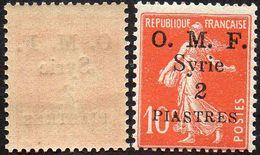 Syrie N°  36 ** Semeuse, Décentrée Surchargée 2 Piastres Sur 10c Rouge - Syria (1919-1945)