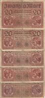 ALLEMAGNE 20 MARK 1918 VG+ P 57 ( 5 Billets ) - [ 2] 1871-1918 : German Empire