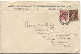 REF1065/ TP 645-423 S/L.entête Musée Du Congo Belge Tervueren C.BXL 14/12/45 > USA - Lettres & Documents