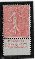 France N°199 Avec Bande Publicitaire - Neuf * Avec Charnière - TB - Advertising