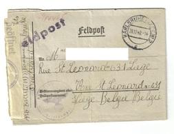 Brief Aus Karlsruhe Als Feldpost Vom 28.12.42 Von Einem Arbeiter Nach Liege Belgien - Lettres & Documents
