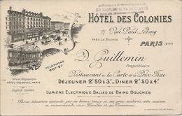 HOTEL DES COLONIES . PARIS 2EM. PLAN DERRIERE - Publicités
